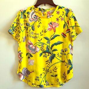 LOFT Yellow flowy top. Size XS
